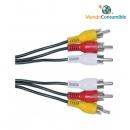 Cable Conexión 3Xrca M-H 7.00 Metros