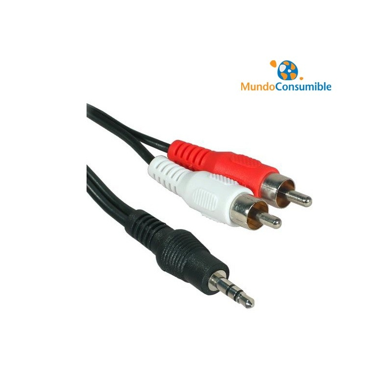 cable audio 2 rca a mini jack estereo 3m mundo consumible tienda informatica distribuidor. Black Bedroom Furniture Sets. Home Design Ideas