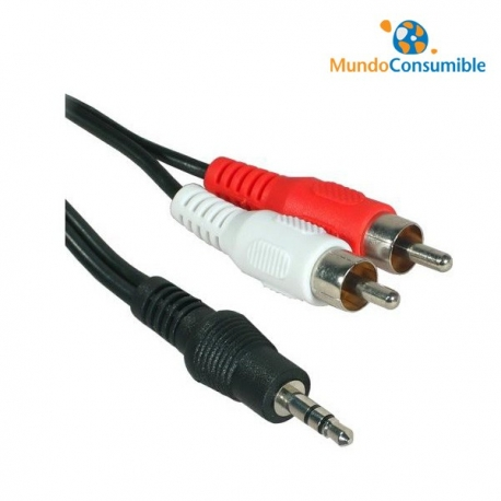 CABLE AUDIO 2XRCA M - JACK 3.5 M ESTEREO 3m PACK