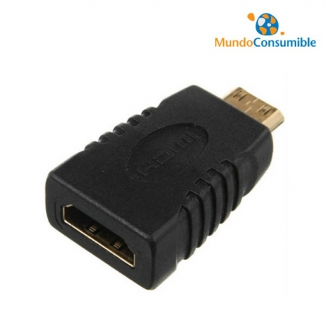 ADAPTADOR MINI-HDMI MACHO / HDMI HEMBRA DORADO