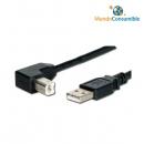 Cable Usb 2.0 Tipo A-M A B-M 90º Acodado 1M.