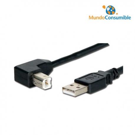 CABLE USB 2.0 TIPO A/M A B/M 90º ACODADO 3m.