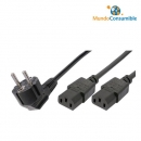 Cable Alimentacion Divisor (Cee7-7Û90º Schuko - 2 X Conector Iec 320Ûc13 Hembra) 1,05M + 55Cm + 55Cm