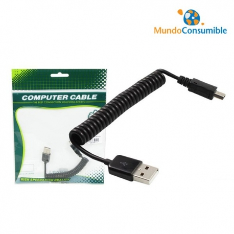 CABLE USB 2.0 HELICOIDAL EXTENSIBLE A MINI USB