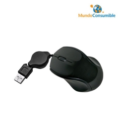 Raton Mini Usb Optico + Cable Retractil + Scroll Negro