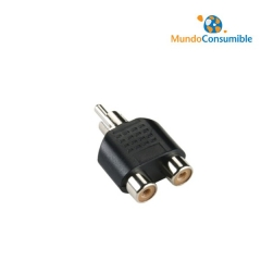 Adaptador Audio 2Xrca Hembra - 1Rca Macho