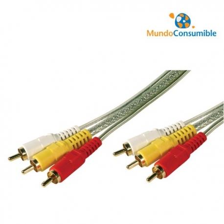CABLE CONEXION RCA 3XRCA MACHO/MACHO 5 METROS ALTA CALIDAD