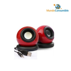 ALTAVOZ MINI SPEAKER POWER USB MINIJACK ROJO