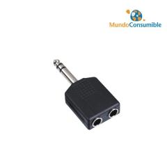 Adaptador Audio Jack 3.5 Mono Macho - 2Xjack 6.3 Stereo Hembra