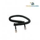 Cables Modular Rizado Para Auricular Telefónico. - Negro 3.00 M. Rj10