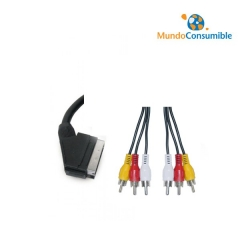 CABLE EUROCONECTOR METALICO - 6 RCA DORADO 1.5m. (Alta Calidad)