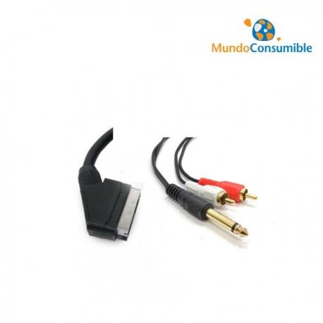 CABLE EUROCONECTOR - 2 RCA AUDIO JACK + PHONO 2M