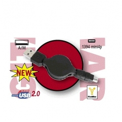 CABLE USB 2.0 RETRACTIL CABLE PLANO TIPO A/MACHO - IEEE 1394 MINI 4P 0.80 METROS