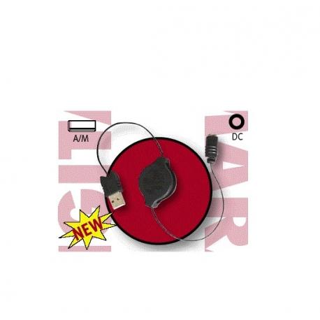 CABLE USB 2.0 RETRACTIL TIPO A/MACHO - ALIMENTACION DC 0.80 METROS