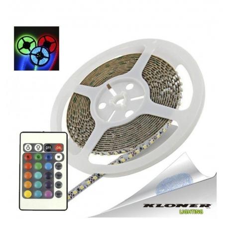 KLONER TIRA LED 5 METROS 4.8W RGB + AC + MANDO