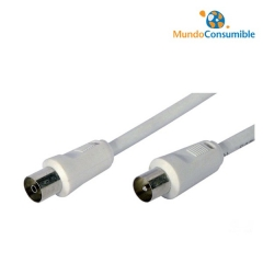 Cable Antena Coaxial Blanco Macho-Hembra 5.00 Mt