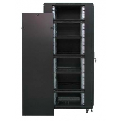 Rack 19'' 22U 600x800 Negro puerta Cristal + Ventilacion + Regleta + 2 Bandejas
