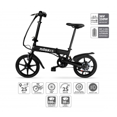 Nilox Doc E-Bike X2 Bicicleta Electrica Plegable Acero (Frenos de Disco)
