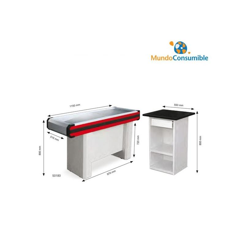 Mueble caja 115x51x89 cm azul rojo caja de pago for Mundo mueble catalogo