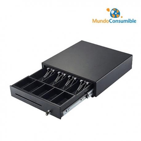 CAJON PORTAMONEDAS 41X41 CM 4 BILLETES / 8 MONEDAS METALICO NEGRO - APERTURA AUTOMATICA (Pisapapeles Metalico)